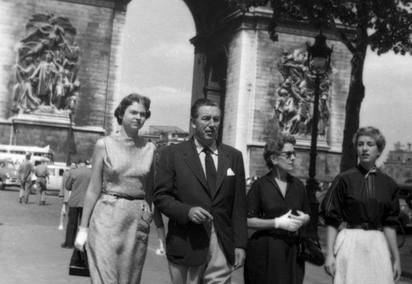 Walter Elias Disney, Lillian, Diane, and Sharon at The Arc de Triomphe in Paris, France.
